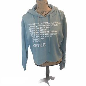 NWOT MIGHTY FINE Love Graphic Sweatshirt Crop Top